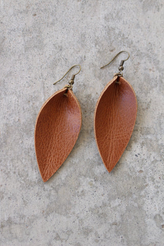 Jones & Lake Medium Saddle Leather Leaf Earrings