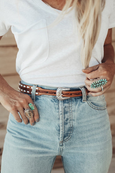 Buckstitch Leaf Tooled Skinny Belt
