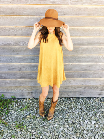Faux Suede Dress