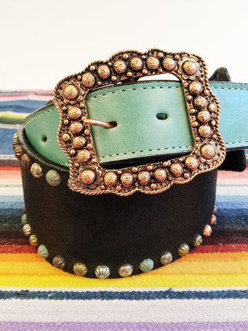 Double J Black & Turquoise Studded Belt