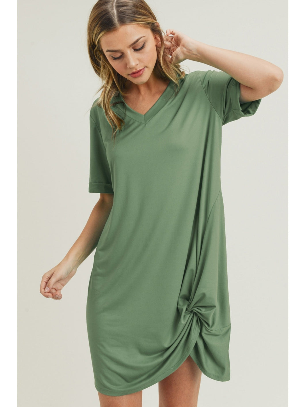 V-Neck Knot Front T-Shirt Dress