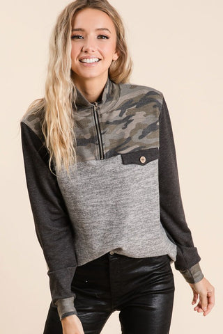 Camo Half Zip with Pocket