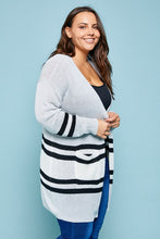 Load image into Gallery viewer, Varsity Stripe Cardigan Sweater