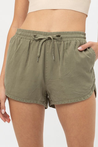 Round Hem Drawstring Soft Short