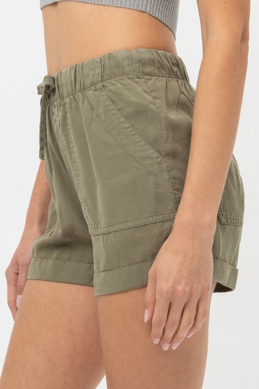 Rolled Hem Soft Shorts