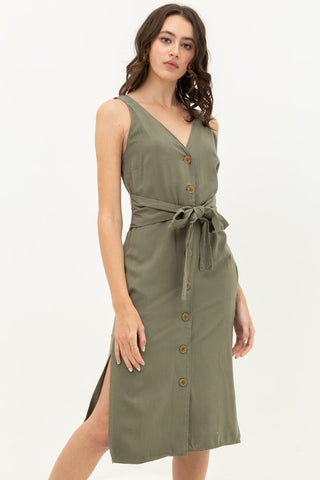 Button Front Tie Waist Midi Dress