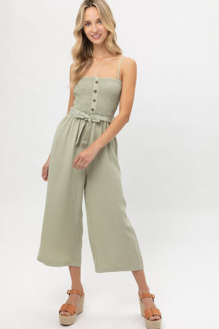 Smocked Top Cropped Jumpsuit
