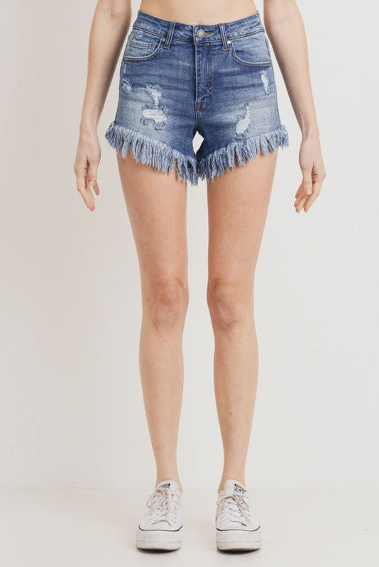 Mid Rise Fray Hem Denim Shorts