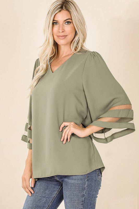 Flare Sleeve Blouse with Sheer Panel
