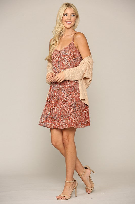 Tiered Paisley Mini Dress