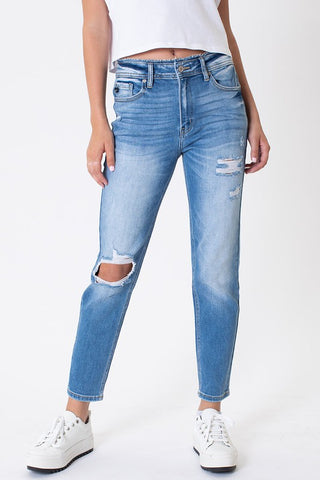 Laney Kancan High Rise Distressed Mom Jean
