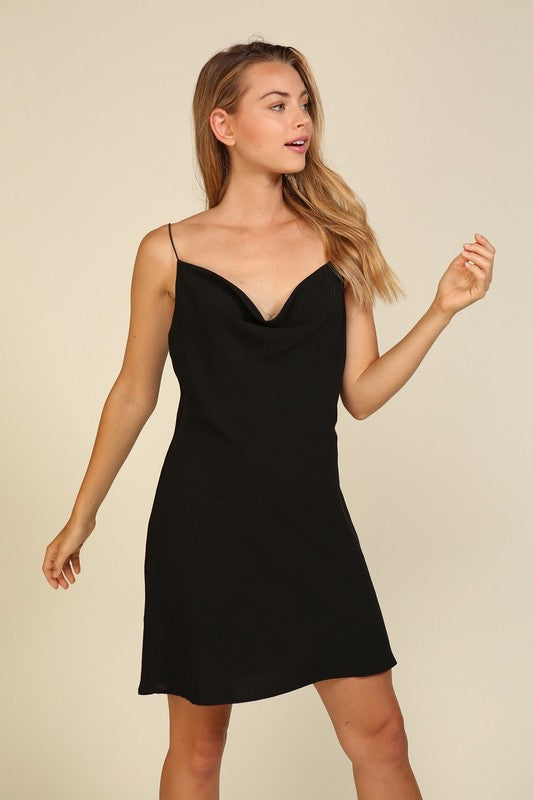 Cowl Neck Mini Slip Dress