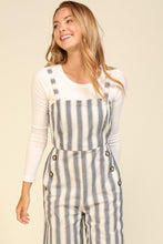 Load image into Gallery viewer, Stripe Jumpsuit with Button Detail