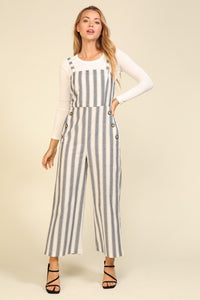 Stripe Jumpsuit with Button Detail