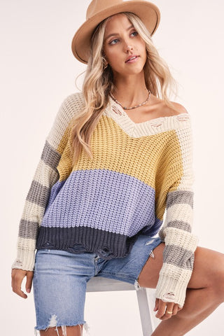 Distressed V Neck Colorblock Sweater