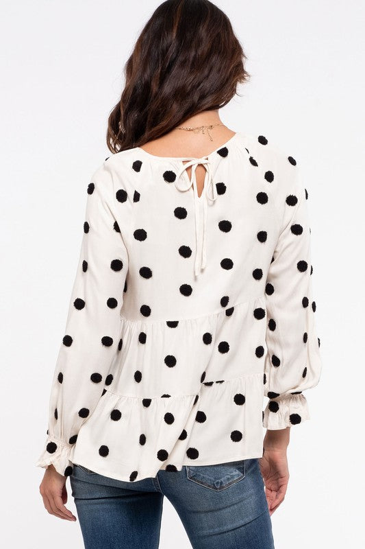 Tiered Woven Polka Dot Top