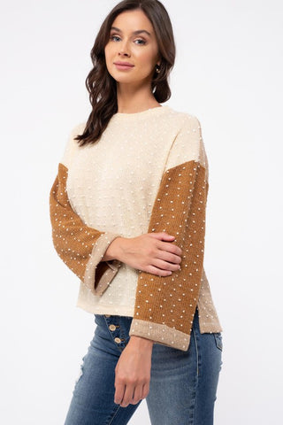 Knit Texture Colorblock Top