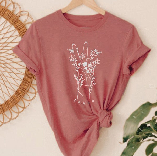 Peace and Flowers Graphic Tee