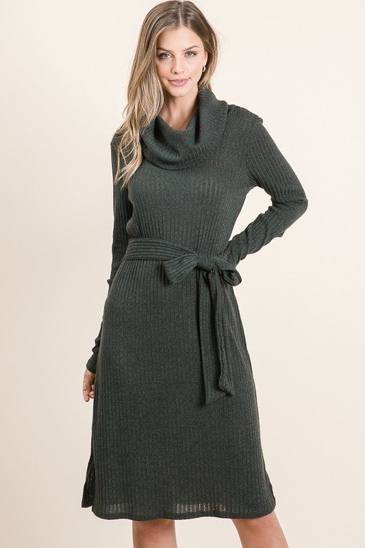 Ribbed Cowl Neck Midi Dress