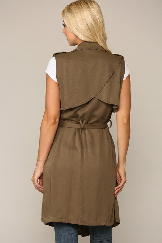 Belted Waist Trench Vest