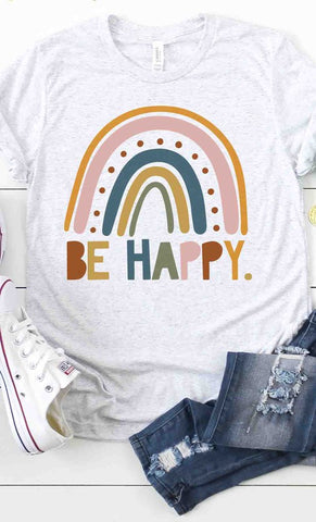 Be Happy Rainbow Graphic Tee