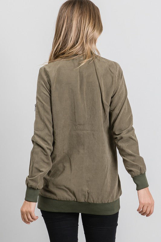 Faux Suede Bomber Jacket