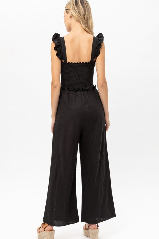 Ruffle Strap Smocked Jumpsuit