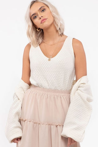 Sleeveless V Neck Sweater Top