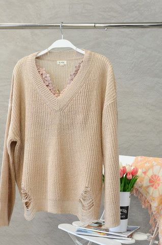 Lightweight Distressed V-Neck Sweater