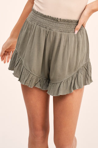 Smocked Waist Ruffle Shorts