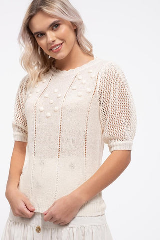 Short Sleeve Pom Lightweight Sweater