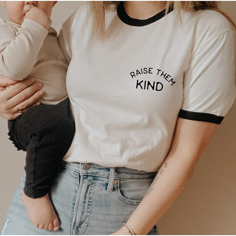 Raise Them Kind Ringer Graphic Tee