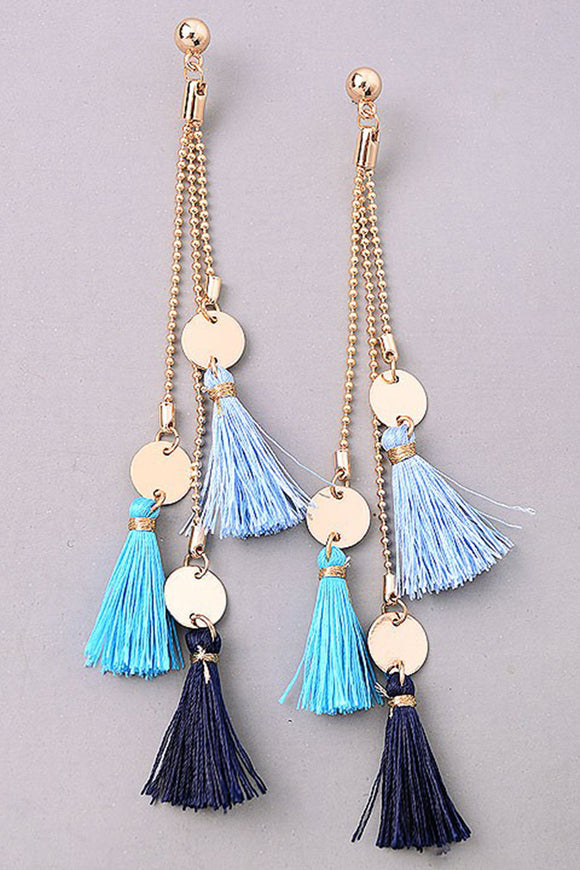Ombre Blue Tassel Earrings
