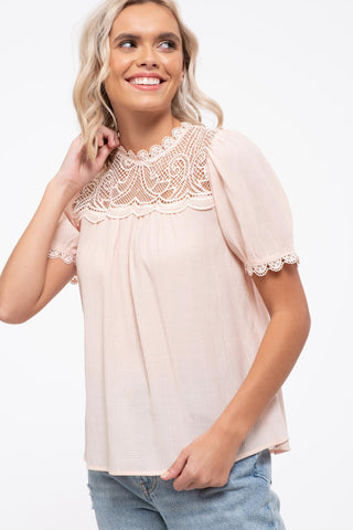 Lace Inset Woven Top