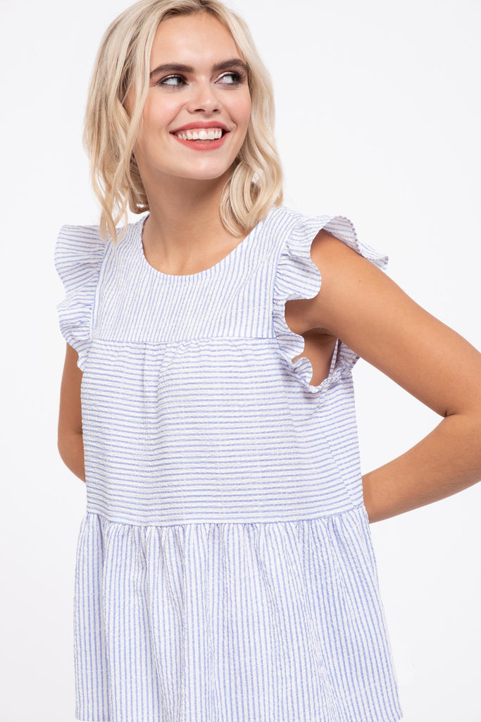 Striped Flutter Sleeve Tiered Top