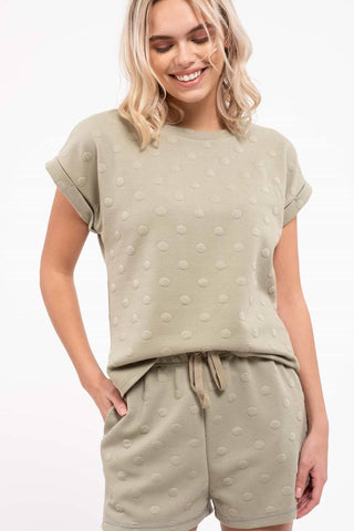 Swiss Dot Button Back Top