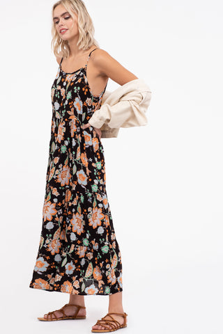 Flower Mix Woven Midi Dress