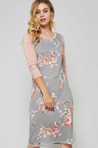 Floral Baseball Sleeve Midi Dress