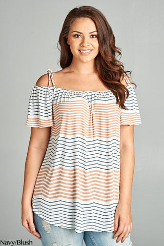 Chevron Off The Shoulder Top