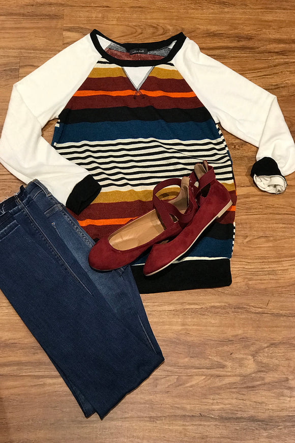 Plush Multi Color Stripe Sweatshirt