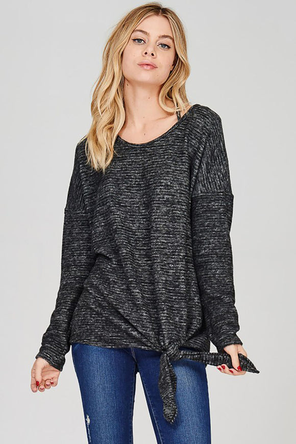 Plush Tie Front Tee with Strappy Back