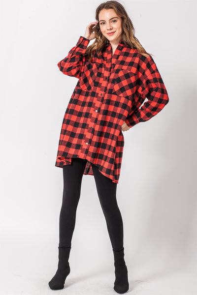 Long Length Plaid Shirt