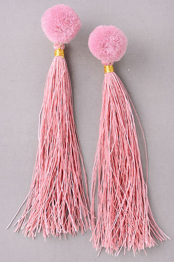 Mauve Pink Tassel a Earrings