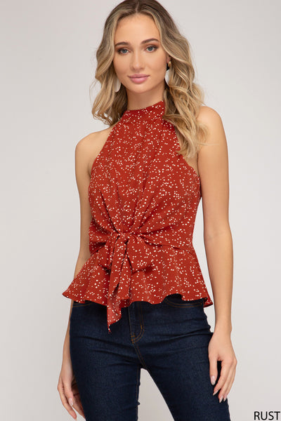 Printed Halter Top with Tie Detail