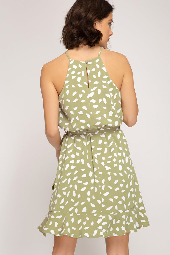 Printed Dress with Ruffle Hem