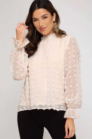 Swiss Dot Long Sleeve Blouse