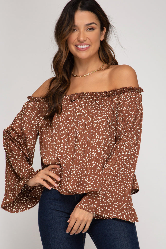Pleated Satin Off The Shoulder Top