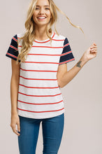Load image into Gallery viewer, Navy and Red Stripe Tee