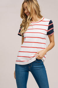 Navy and Red Stripe Tee
