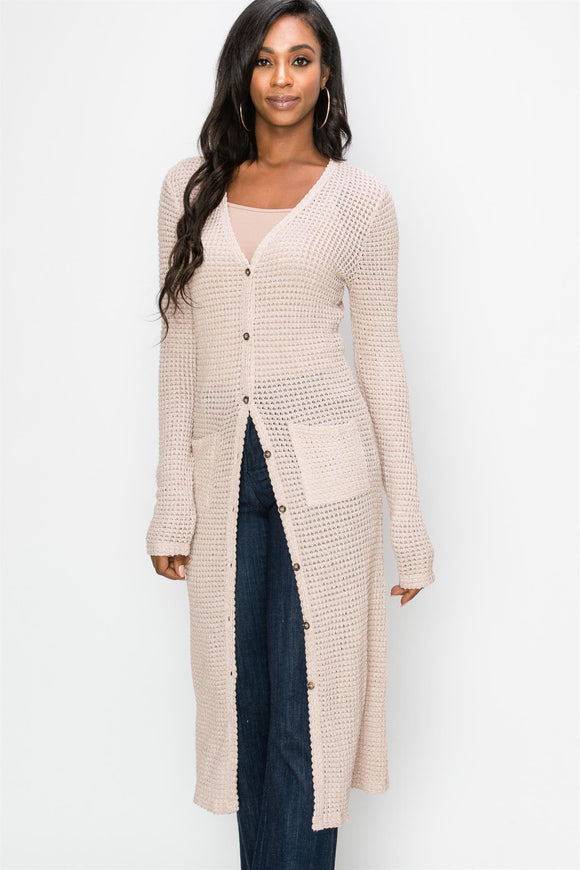 Thermal Button Front Long Cardigan